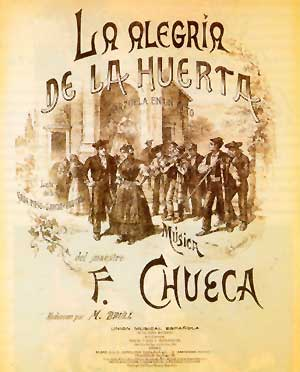 la alegria de la huerta - original vocal score cover, picturing the Jota